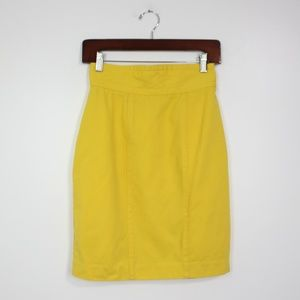 Vintage Georges Marciano Yellow Wool Pencil Skirt